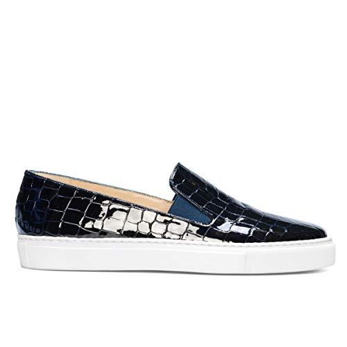Genia – Beatriz – sneakers slip on comfortabel te dragen voor dames van leer – platte zool dik wit – elastische sluiting – modieus sport casual – Charol Croco marineblauw
