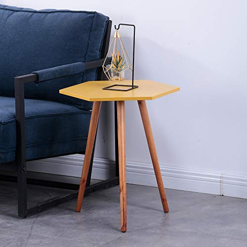 GOLDFAN Modern Coffee Table Hexagon Wood End Side Table Bedside Table Easy Assembly Sofa Side Corner Table for Living Room,Yellow