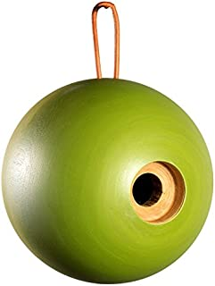 """BYER OF MAINE Globe Bird Home, Mango Wood, Painted, Sized for Small Songbirds, Green, 7""""x7""""x8"""", 1⅛"""" Opening"""