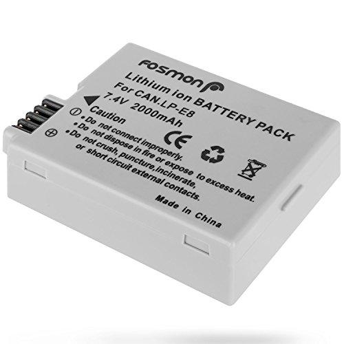 Fosmon 7.4V 2000mAh Reemplazo Lithium Ion Batería Paquete para Canon LP-E8 y...
