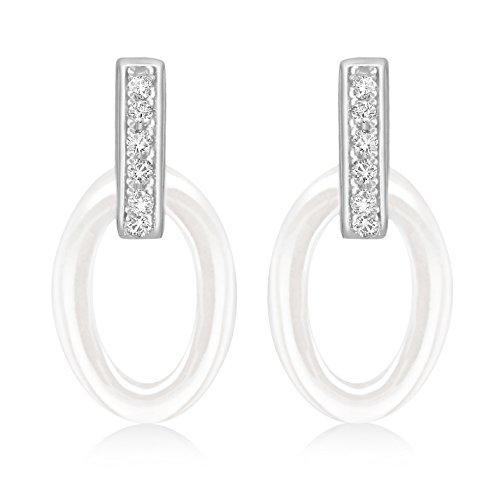 Tuscany Silver Ohrhänger Rhodiniert Sterling Silber Oval Weiß Keramik und Weiß Zirkonia