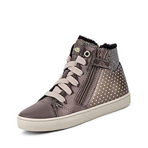 Geox Mädchen High-Top Sneaker GISLI Girl, Kinder Sneaker,Sportschuh,Sneaker-Stiefelette,mid-Cut,atmungsaktiv,Smoke Grey/Gold,33 EU / 1 UK