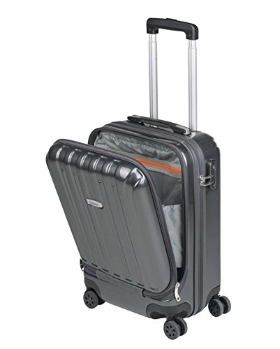 SULEMA Cabin Suitcase R1268GR Hand Luggage 53cm Light Rigid ABS with 4 Wheels and Double Pocket (Grey)