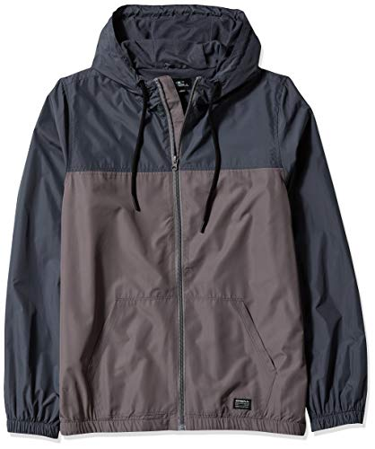 O'Neill Herren Water Resistant Hooded Full Zip Windbreaker Rain Jacket Regenjacke, Schiefer/Erkunden, Klein
