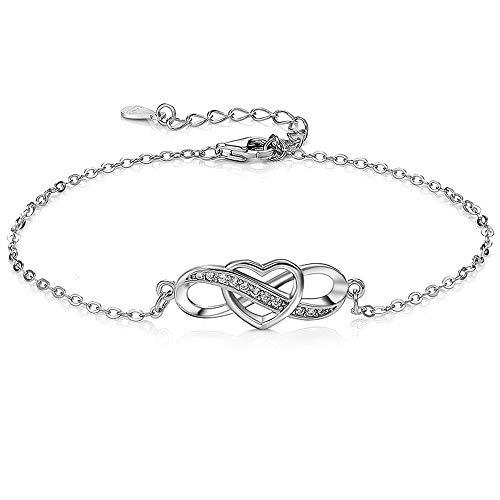Armbänder Damen Unendlichkeit 925 Sterling Silber Schmuck für Frauen Mädchen, Herz Echt Silber Armband Unendlichkeitszeichen Infinity Unendlich Liebe Immer Armreif Geschenk für Weihnachten Geburtstag