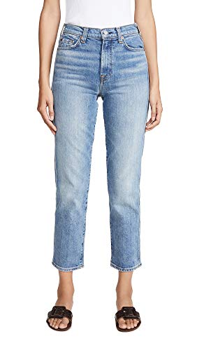 7 For All Mankind Women's High Waist Cropped Straight Jeans, Retro Ventura BLVD, Blue, 29