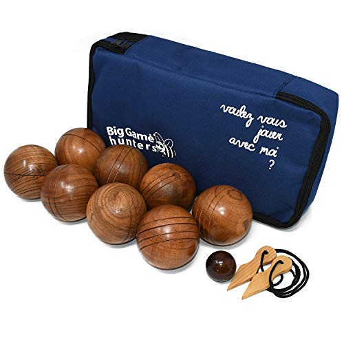 Big Game Hunters Wooden Boules Set of 8 Solid Engraved Balls with Padded Canvas Carry Case, Petanque Garden Game