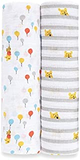 Aden by aden + anais Disney Swaddle Blanket | Muslin Blankets for Girls & Boys | Baby Receiving Swaddles | Ideal Newborn Gifts, Unisex Infant Shower Items, Wearable Swaddling Set, Winnie The Pooh