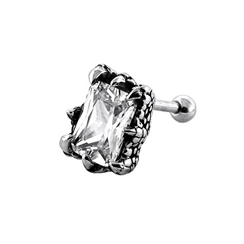 Tribal Square CZ Stone instelling op Dragon Claw 16 gauge chirurgisch staal Fake Ear Piercing Plug