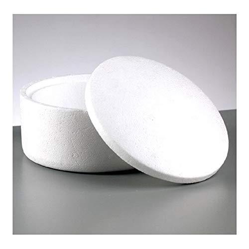 Artif Opbergdoos rond met deksel van polystyreen, wit, diameter 14,5 cm en hoogte 9 cm