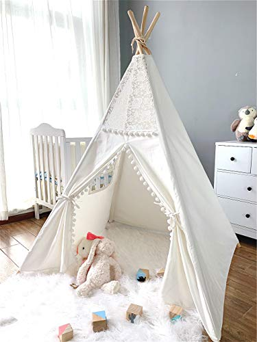 Avrsol Boho Tent Kids Play Teepee Tent Lace & Pompom Ball Foldable Tipi Tents for Girl Boy