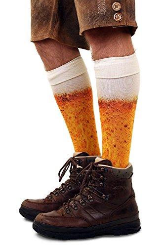 shoperama Kniestrümpfe mit Bier Druck Socken Herren Damen Strümpfe Karneval Verkleidung Party lustig Oktoberfest, Größe:43-46