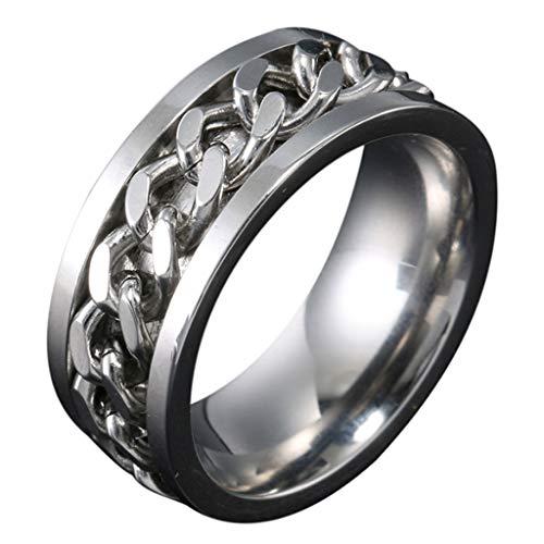 Boji Spinner Ring,Herren Damen Edelstahl Ring Silber Gold Ketten Inlay Kettenring Drehring Spinner