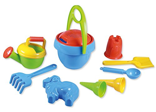 Lena 05420 - Happy zand speelset jongens I, emmergarnituur 10-delig, zandspeelgoed set voor kinderen vanaf 2 jaar, speelset met emmer, zeef, schep, hark, gietter, ijlepel, 2 ijszakken en 2 vormpjes