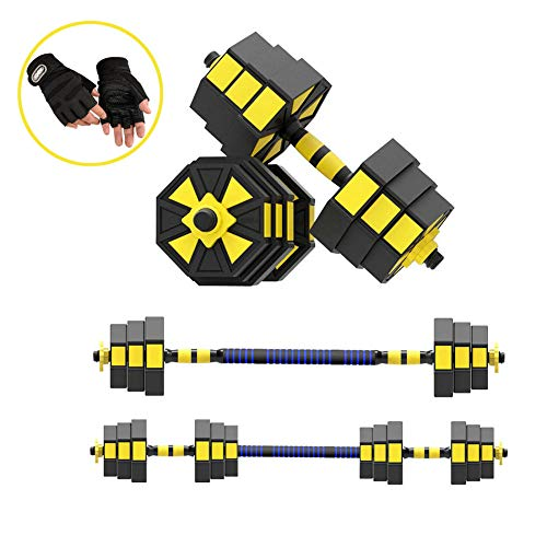LIJIE Weight Adjustable Dumbbells Set 2020 New 2 in 1 Dumbbell Barbell Set Barbell Set for Men and Women Out Exercise Training with Connecting Rod Used As Barbells,Yellow,66lbs