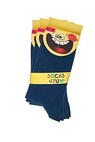 TippTexx 24 Ökotex Bambus Kinder Socken, handgekettelt, 3 Paar für Mädchen/Jungen und zusätzlicher Garantie (Jeans, 27-30)
