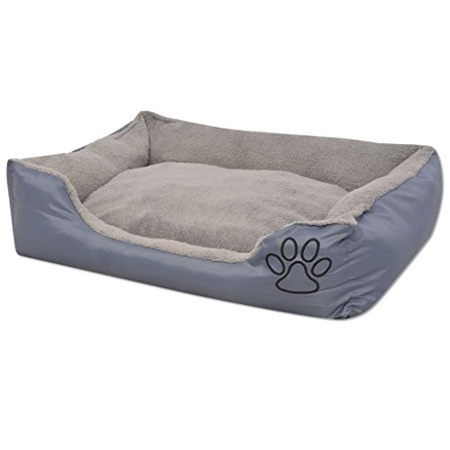 vidaXL Hondenbed Gewatteerd Kussen S Grijs Honden Hond Bed Mand Slaapkussen