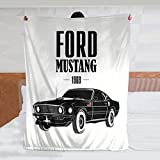 HCLIFE Ford Mustang 1969 Throw Blanket, Super Soft Warm Plush Blankets and Throws, Lightweight Cozy Fuzzy Blanket for Couch Sofa Bed (60x50inch)