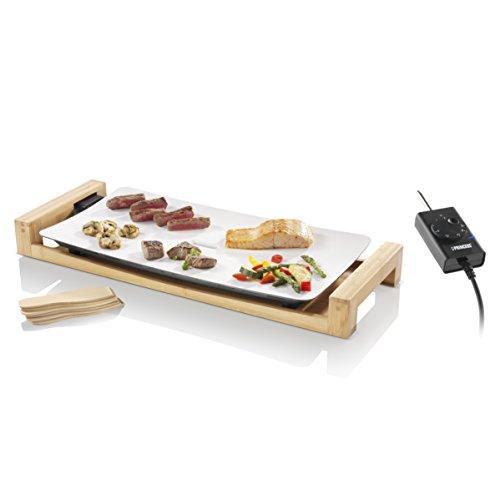 Princess 103030 Table Chef Pure – Plancha con Revestimiento cerámico blanco, Estructura de Bambú, 2500 W, 25 x 50 cm