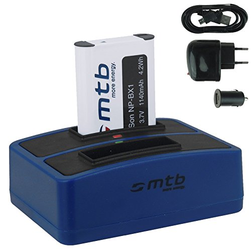Akku + Dual-Ladegerät (Netz+Kfz+USB) für NP-BX1 / Sony Action Cam FDR-X1000V, X3000R / HDR-AS200V, AS100V, AS50, AS30(V), AS10. s. Liste