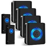 campanello senza fili, satisure indicatore led, 58 melodie con 5 livelli di volume, campanello da esterno impermeabile ip55 portata 300m (2 trasmettitori e 4 ricevitori)