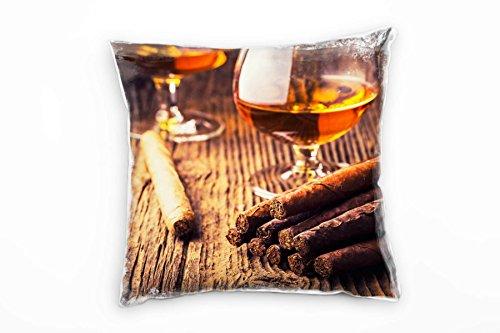 Paul Sinus Art artistieke fotografie, sigaar, cognac, bruin decoratief kussen 40x40cm voor bank bank bank lounge sierkussen - decoratie om je goed te voelen
