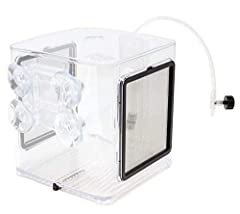 Spacious 2.4L volume Excellent water circulation system Adjustable Cradle with 4 suction cups for mounting 2 sides stainless steel mesh screens Clear view of the breeding