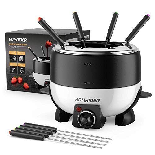 Homaider Electric Fondue Pot for Chocolate and Cheese - Fondue Set Includes 8 Dipping Forks, a High Power 800 Watt Fondue Melting Pot and Automatic Thermostat with Temperature Control