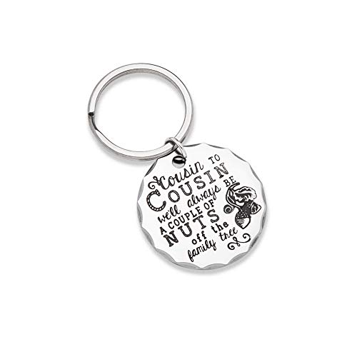 Christmas Gifts for Cousin Keychain Gift Personalised Cousin Birthday Present Family Tree Stocking Stuffers Gift for Men Kids Teen Girls Boys BBF Brother Sister Cousin to Cousin Wedding Graduation