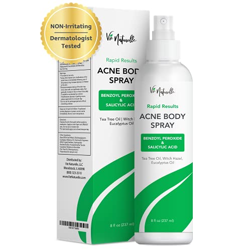 Body and Face Acne Spray Treatment with Benzoyl Peroxide, Tea Tree Oil & Salicylic Acid for Men, Women, and Teens - Powerful Non-Prescription Strength Exfoliating Spray for All Skin Types