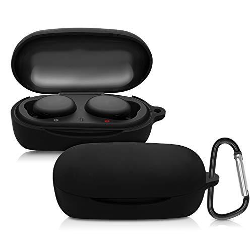 kwmobile Schutzhülle kompatibel mit Sony WF-XB700 True Wireless - Hülle Kopfhörer - Silikon Case Cover Schwarz
