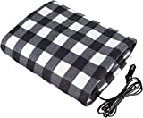 Electric Car Blanket- Heated 12 Volt Fleece Travel Throw for Car and RV-Great for Cold Weather, Constant Temperature Heating Blanket for Travel Camping Picnic Heater 55.12x39.37in/145x100cm (Black)