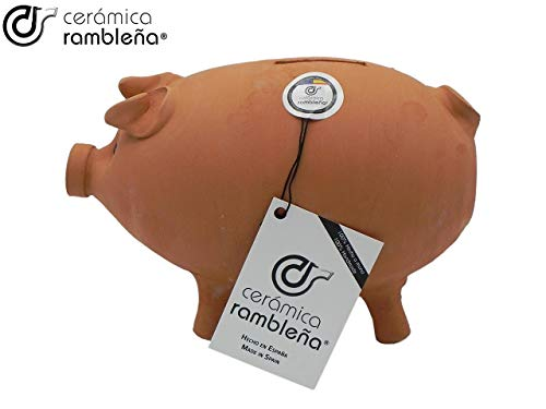CERÁMICA RAMBLEÑA | Hucha Cerdito de Barro Rojo Tradicional | Hucha Infantil | 100% Hecho a Mano | 22x13x15 cm
