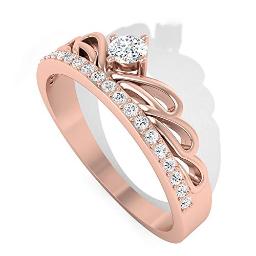 Rosec Jewels 10k dorado rosa Runde Diamond