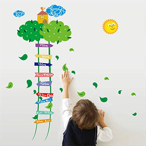 LWJZQT wandstickers Air Castle Cloud Ladder Cartoon Muurstickers Baby Kind Groei Hoogte Meetstickers Kids Kamer Decor Sticker