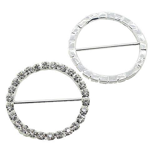 Trimming Shop Cerchio Strass Diamante Fibbia Slider Decorazione per Sedia Cover Fascette, Invito di Nozze Carte, Arte e Artigianato, Donna Accessori - Argento, 50 Sliders