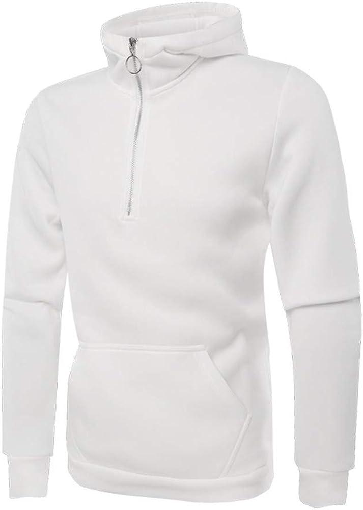 MODOQO Men's Zipper Hoodies Long Sleeve Solid Cotton Soft Pullover Sweatshirt with Pocket