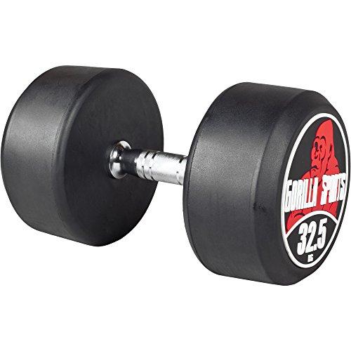 GORILLA SPORTS® Kurzhantel 32,5 kg – Rundhantel mit Beschichtung und ergonomischen Chrom-Griff