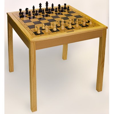 STERLING Games Wooden Chess Checkers and Backgammon Table, Natural