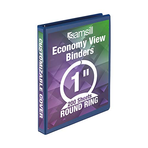 Samsill Economy 3 Ring Binder Organizer, 1 Inch Round Ring Binder, Customizable Clear View Cover, Colbalt Binder