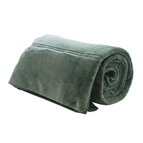 Couverture Double Hiver Velours Corail Chaud Nap Blanket 1,5 kg Qui ne Fonctionne Pas Fade sans Lint Little (Color : Matcha Green)