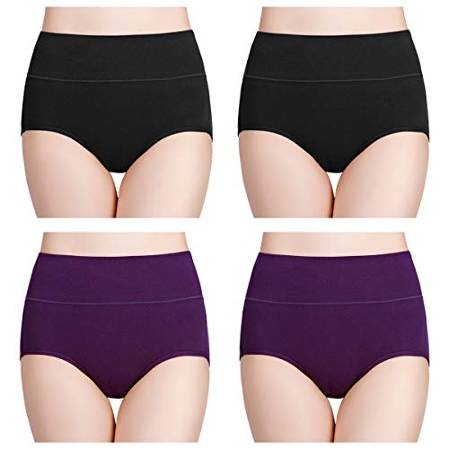 wirarpa Womens High Waisted Cotton Underwear Soft Full Brief Panties Ladies No Ride Up Underpants 4 Pack Black Purple Size 7, Large