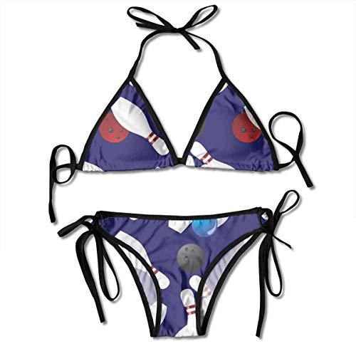 Damen Halfter Mode Badebekleidung Sexy Bikini Set Bowlingkugel Badeanzug