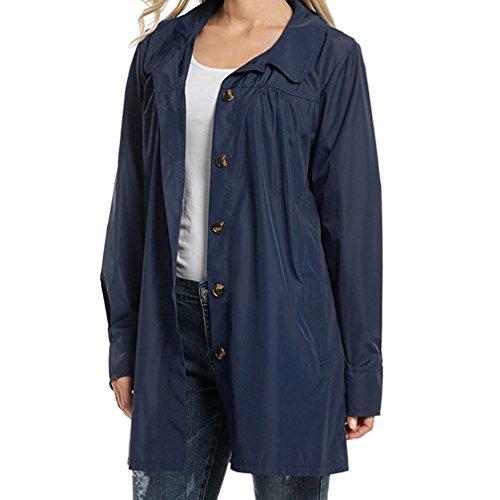 Mxssi Kapuzenjacke Lässig Leichte Regenmantel Button Down Fronttasche Feminino wasserdichte Jacke Für Frauen Marineblau L