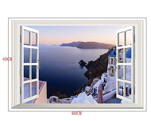 Home Find Fake Window Wall Stickers Santorini Wall Decal 3D Murals View of Scenery Window Frame Glass Wall Stickers Bedroom Girls Room Nursery Removable Vinyl Home Decorations 23 inches x 16 inches