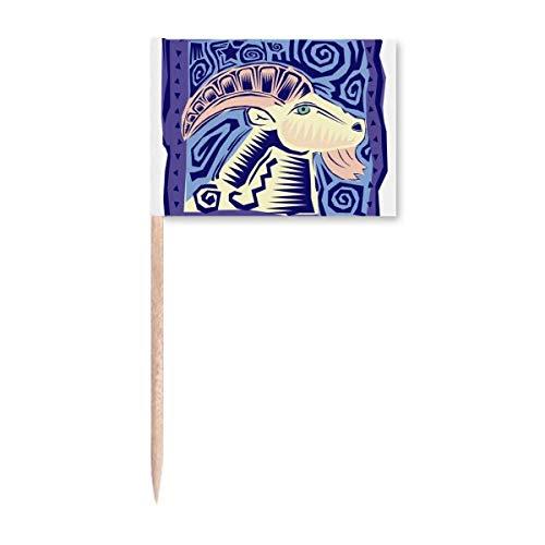 Sternbild Widder mexikonische Kultur Gravur Zahnstocher Flaggen Marker Topper Party Dekoration