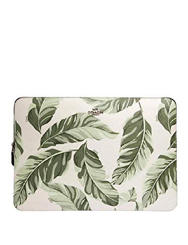 Coach Laptop Sleeve with Banana Leaves Print. SV/Cargo Green