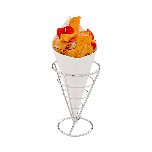 Conetek 10-Inch Eco-Friendly White Finger Food Cones: Perfect for Appetizers - Food-Safe Paper Cone - Disposable and Recyclable - 100-CT - Restaurantware