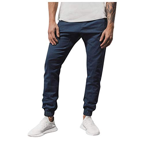 XUETON Mens Sweatpants Solid Color Casual Loose Chino Tapered Trousers Jogger Pants(Navy,5X-Large)