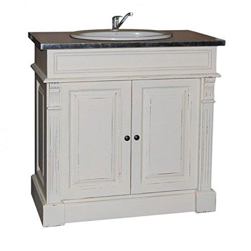 Casa Padrino Landhaus Stil Waschschrank Waschtisch inkl 1 Waschbecken Venice - Bad Schrank, Farbe:Schrank Shabby Chic Weiß Platte Metall